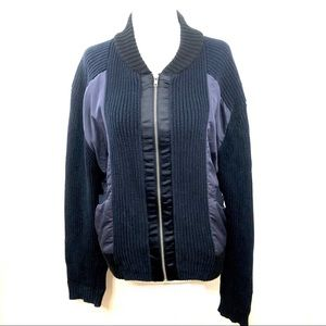 UO BDG Bomber Navy Knit Zip Sweater Size S